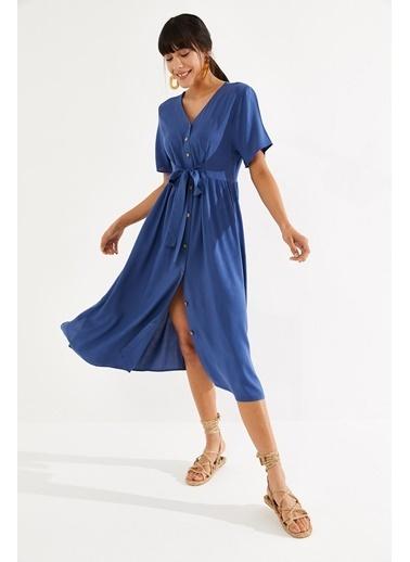 Thil Kadın Çiçek Desenli Boydan Düğmeli Kuşakli Elbise 2187-Thl Mavi